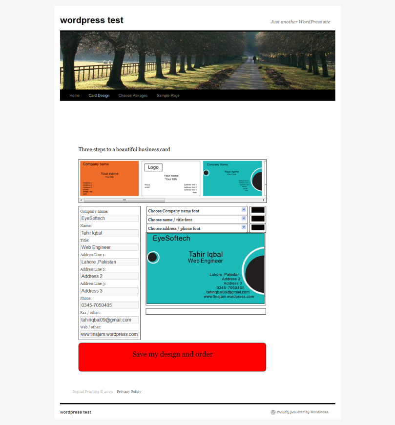 Online visiting card creation using jquery and wordpress tahir advertisements reheart Images